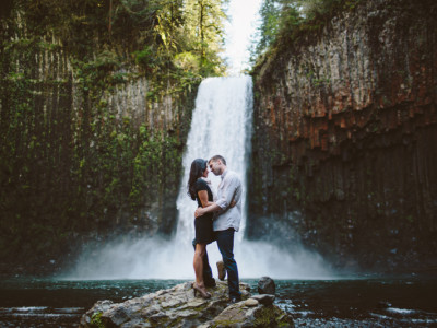 Abiqua Falls waterfall Adventure Oregon Engagement Photographer Wedding Photography Central Oregon PNW